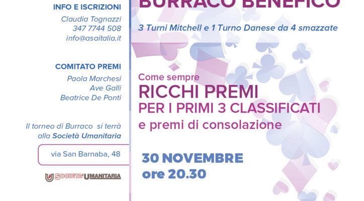 Mercoledì 30 Novembre | Torneo di Burraco ASA Italia